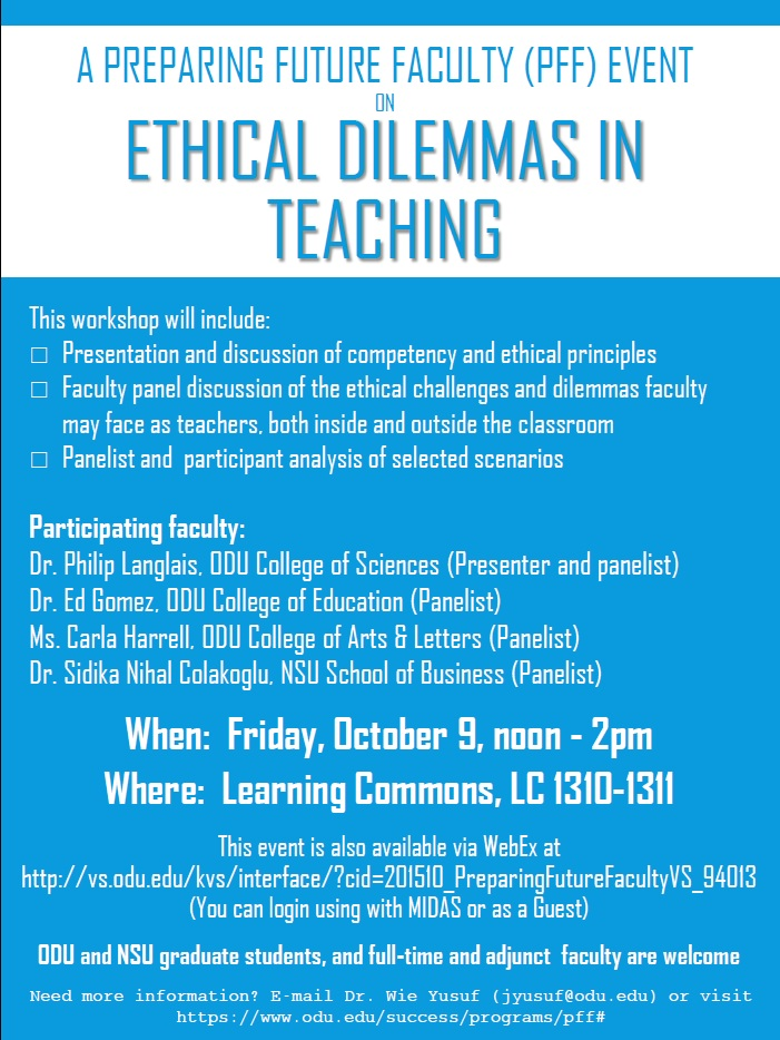 Upcoming PFF event - October 9, 2015 | Preparing Future Faculty