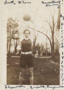Ruth Wilson James with Basketball, circa 1930-1931