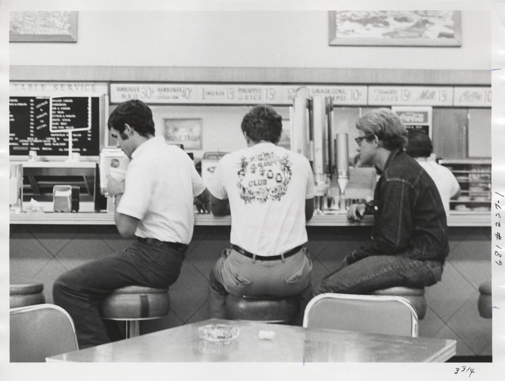 Students at Gray's Pharmacy's Lunch Counter, circa 1960-1969