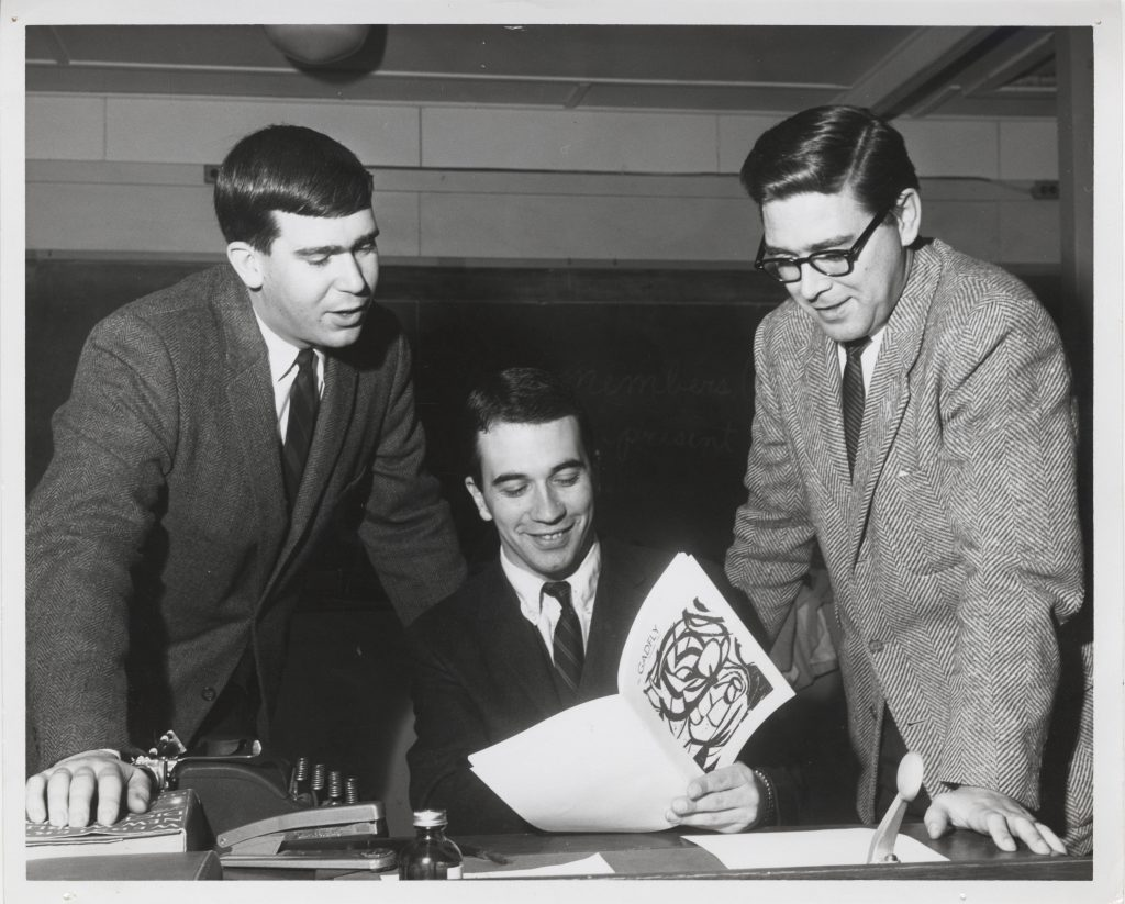 Gadfly Staff with Leland Peterson (right), circa 1962-1969