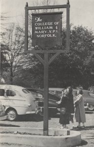 Norfolk William & Mary and VPI sign, circa 1940-1949