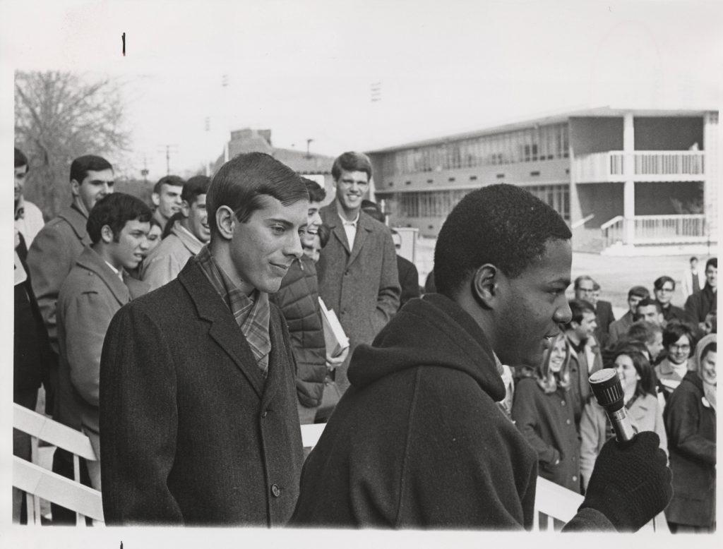 Ron Horne (right) and Gene Woolard Speaking in front of Webb University Center, 1969