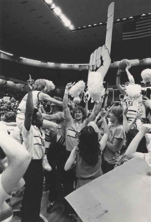 Women's Basketball Team after Game with Fans, circa 1977-1979